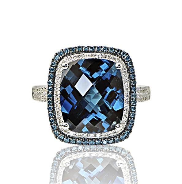 13.54 Carat London Blue Topaz Ladies Ring - SEA Wave Diamonds