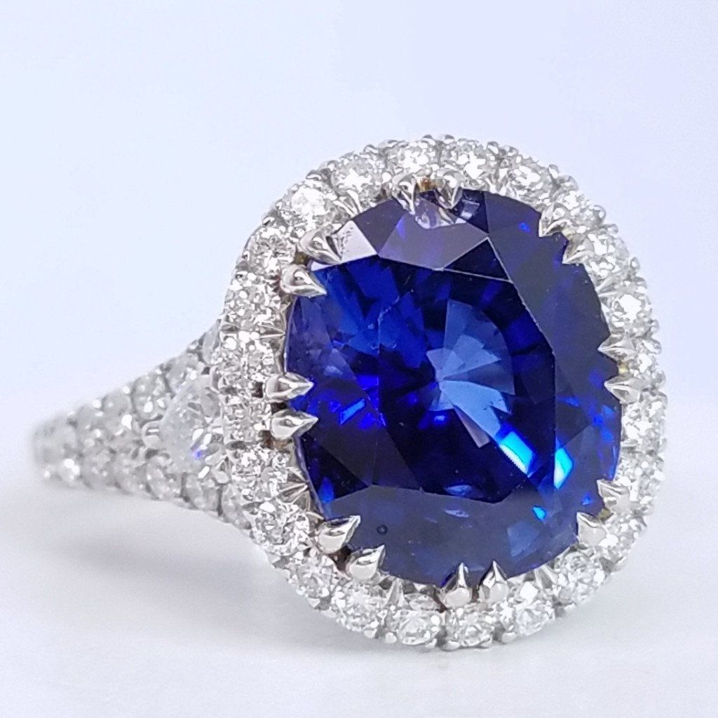 certified i sapphire royal ceylon cushion blue natural cut lanka sri gia