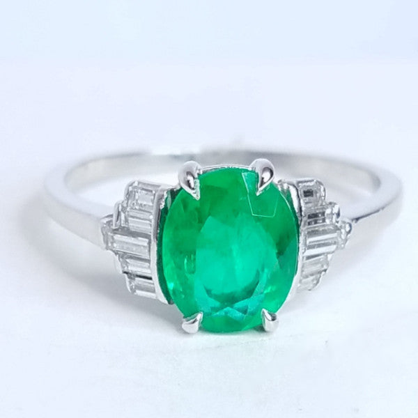 Platinum Vintage Oval Shape Emerald Ladies Diamond Ring - SEA Wave Diamonds