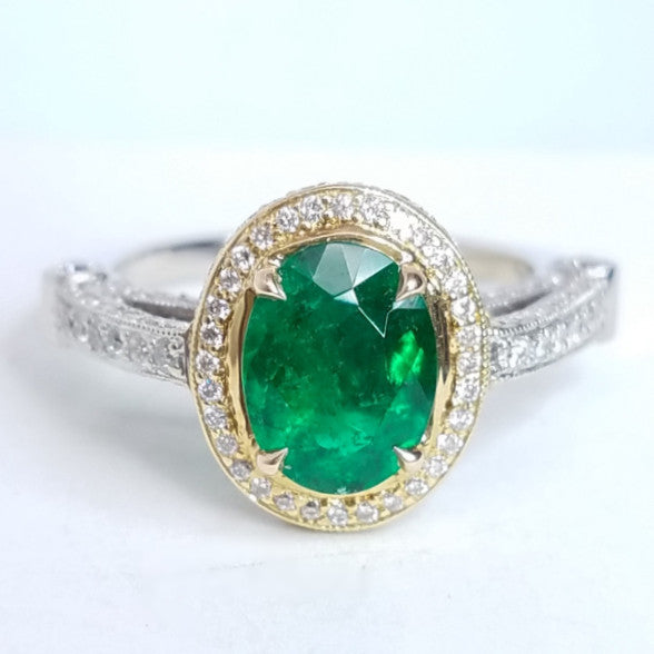 Vintage Inspired Green Emerald Ring - SEA Wave Diamonds