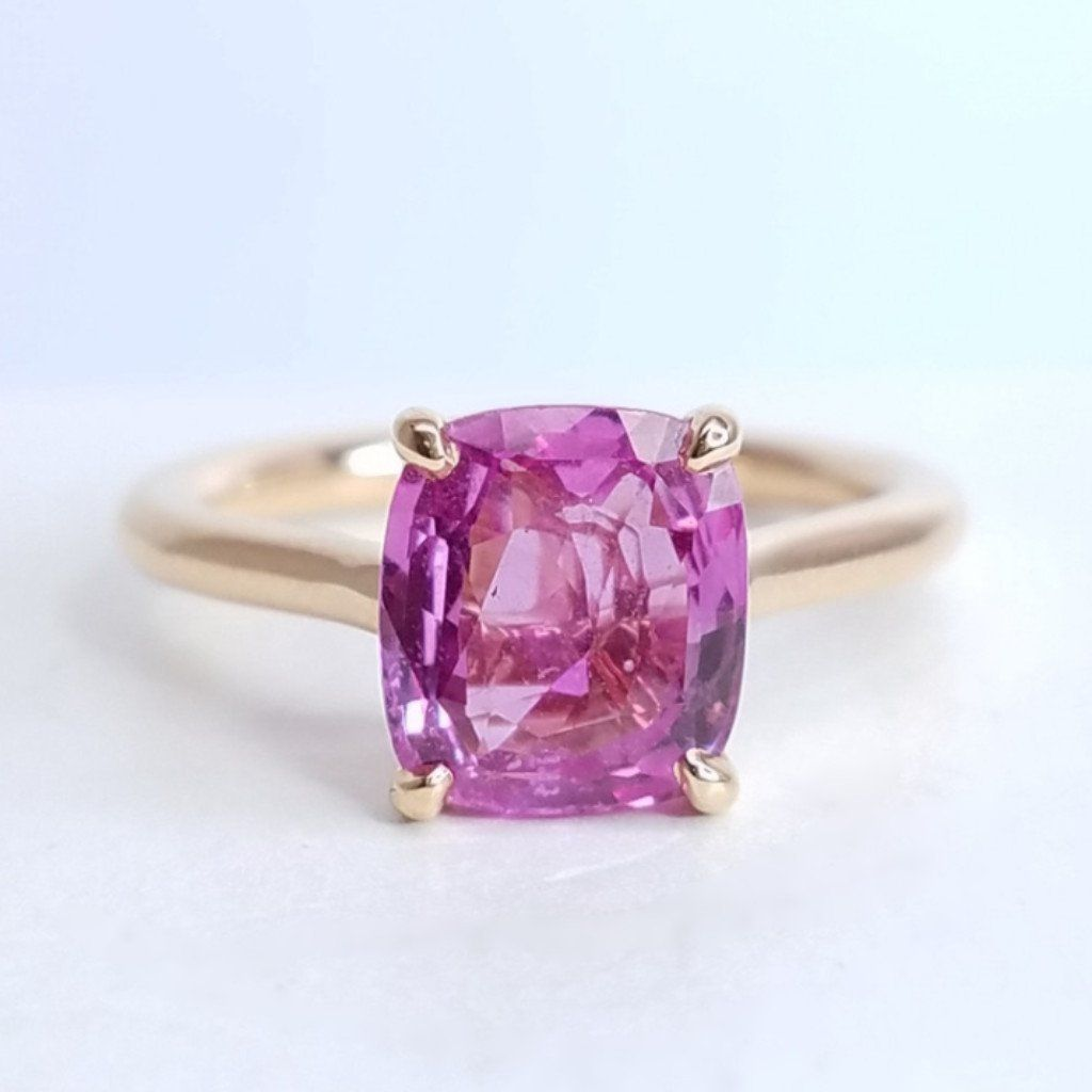 Solitaire Cushion Cut Pink Sapphire Ring - SEA Wave Diamonds