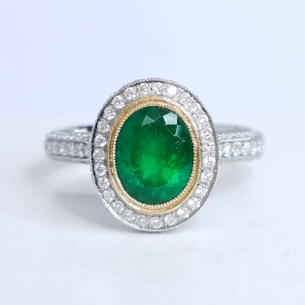 Vintage Style Green Emerald Ring - SEA Wave Diamonds