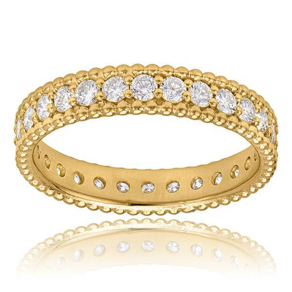 Diamond Eternity Stackable Band In 18k Yellow Gold - SEA Wave Diamonds