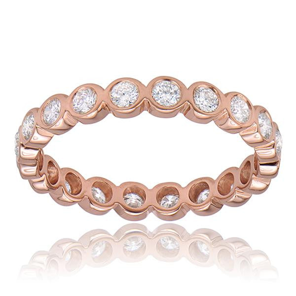 Diamond Eternity Stackable Band In 18k Rose Gold - SEA Wave Diamonds