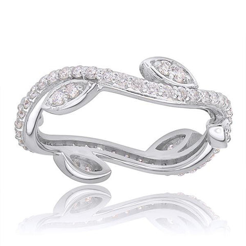 Diamond Eternity Stackable Band In 18k White Gold - SEA Wave Diamonds