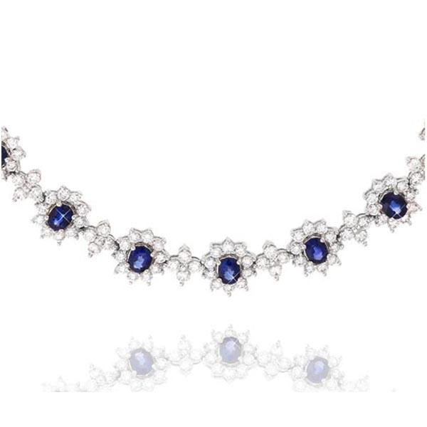 Diamond And Sapphire Flower Necklace in 18K White Gold (19.21ct. tw.) - SEA Wave Diamonds