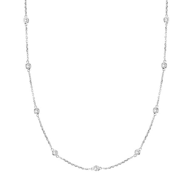 Diamond By The Yard Necklace in 14K White Gold (2.01ctw) - SEA Wave Diamonds