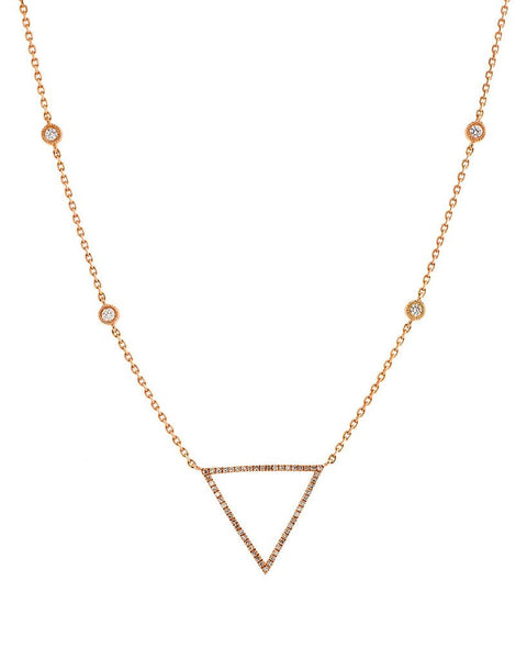 Triangle Diamond Necklace in 14K Rose Gold - SEA Wave Diamonds