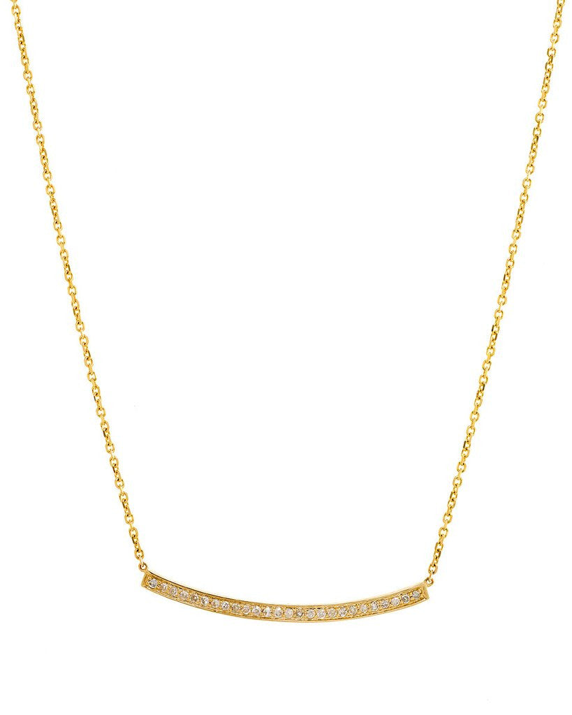 Diamond Bar Necklace in 14K Yellow Gold - SEA Wave Diamonds