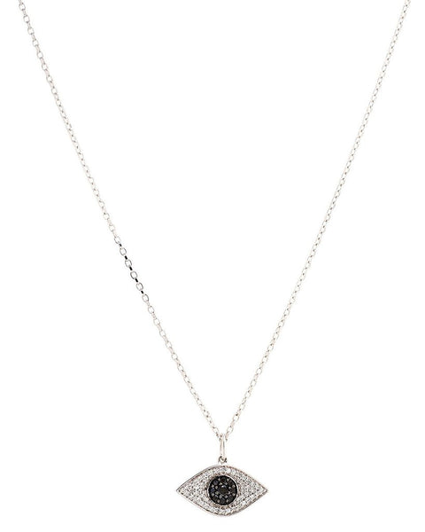 White & Black Diamond Necklace in 14K White or Rose Gold