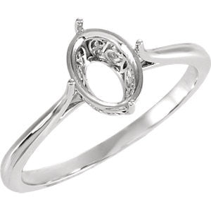 Oval Solitaire Ring Mounting - SEA Wave Diamonds