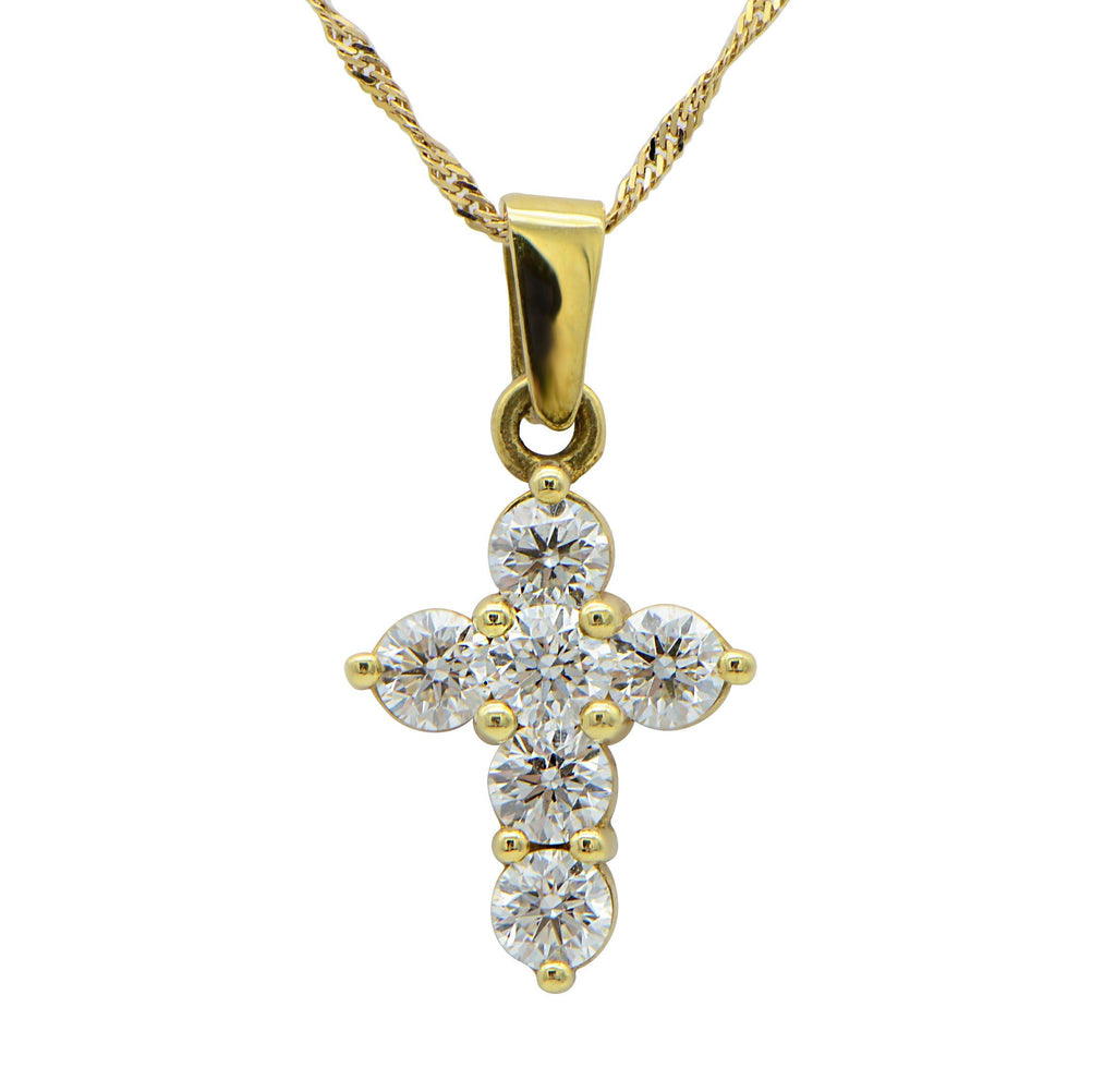 Shared Prong Diamond Cross Pendant on 16