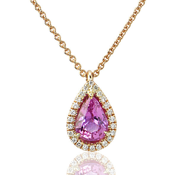 Pink Sapphire Diamond Tear Drop Pendant - SEA Wave Diamonds