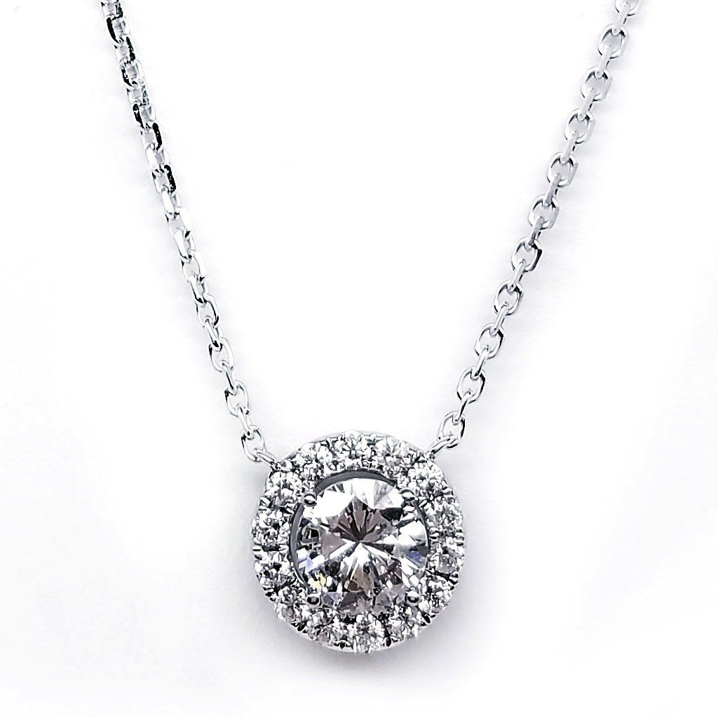 18K White Gold Round Diamond Pendant - SEA Wave Diamonds