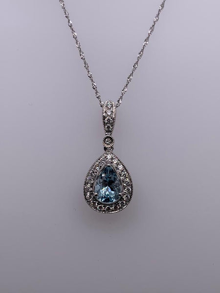 14K White Gold Teardrop Aquamarine Pendant with Diamond Halo - SEA Wave Diamonds