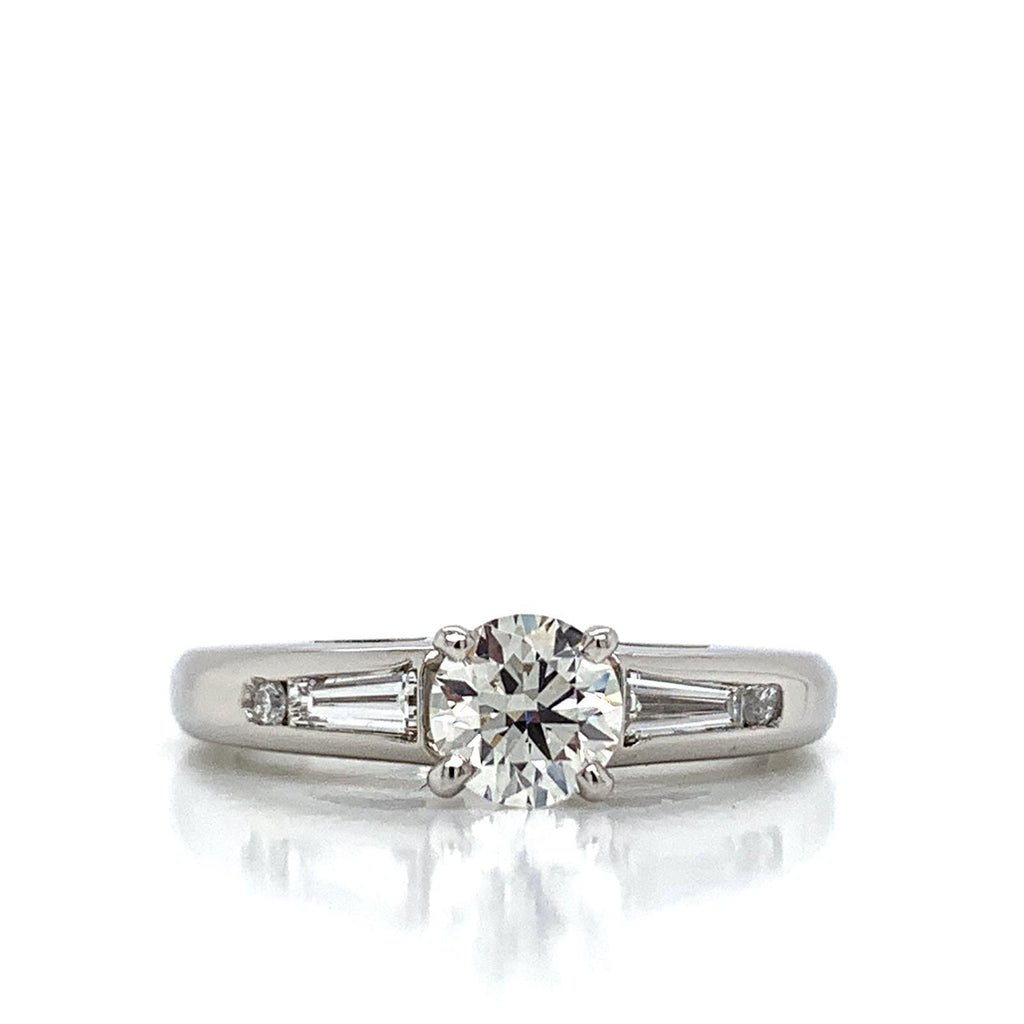 Round Diamond Engagement Ring with Baguette and Round Side Diamonds in Platinum