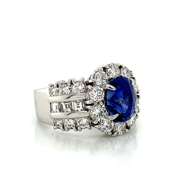 Sapphire and Diamond Halo Ladies Ring with Side Diamonds in Platinum
