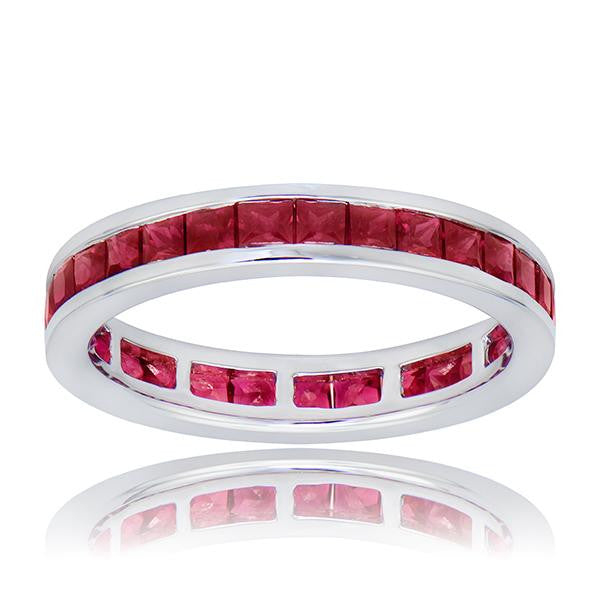 Ruby Eternity Band In 18k White Gold - SEA Wave Diamonds