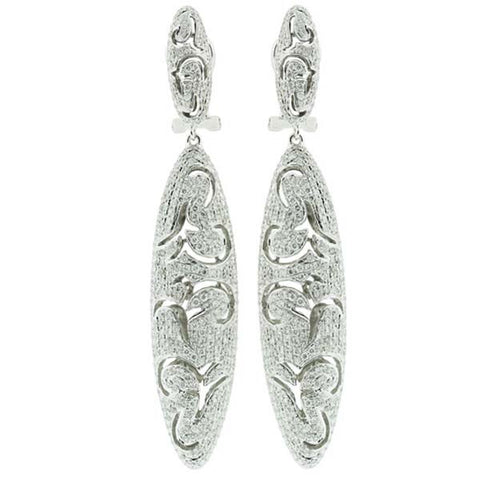 Pave Diamond Oval Shape Earrings - SEA Wave Diamonds