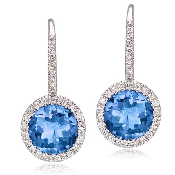 Blue Topaz And Diamond Earrings In 18k White Gold - SEA Wave Diamonds