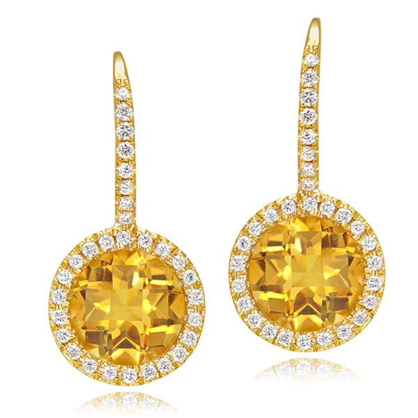 Yellow Topaz And Diamond Earrings