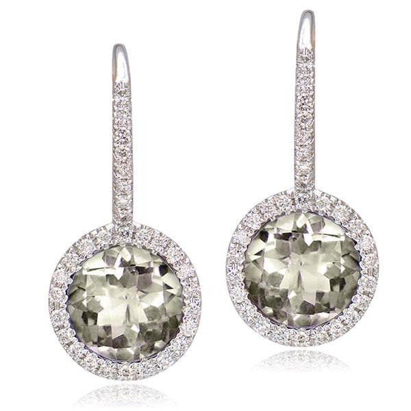 White Topaz And Diamond Earrings