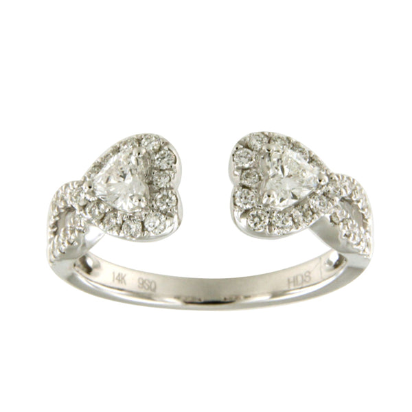 Double Heart Open Front Diamond Band 14K White Gold - SEA Wave Diamonds