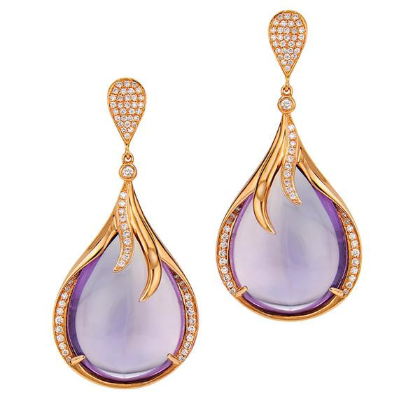 Diamond And Amethyst Celebrity Style Earrings