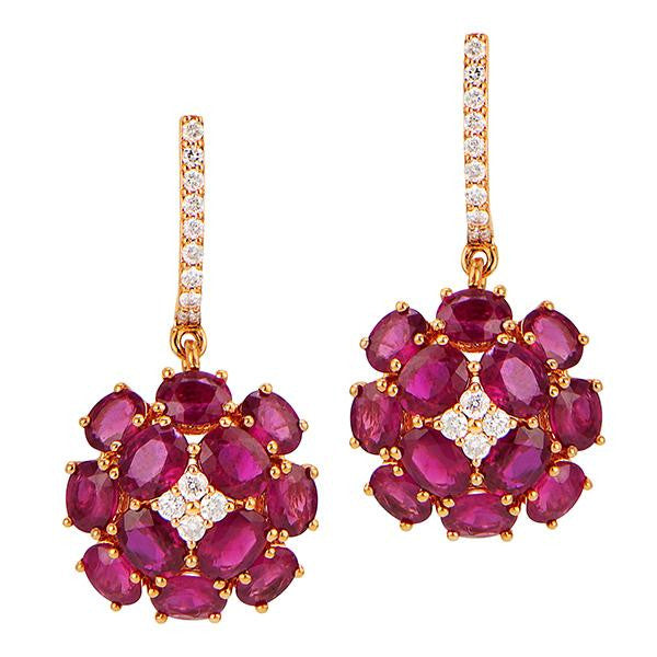 Ruby And Diamond Celebrity Style Earrings