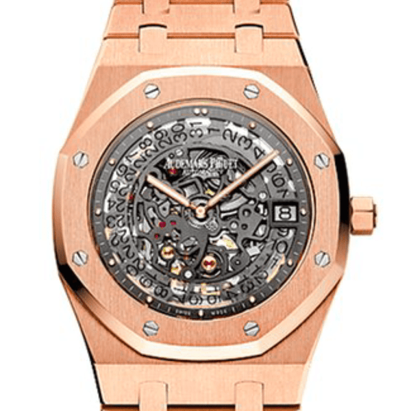 Audemars Piguet Audemars Royal Oak Openworked 39mm Black Skeleton Rose Gold - SEA Wave Diamonds