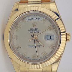 Rolex Day-Date II President Yellow Gold - Fluted Bezel REF:218238 - SEA Wave Diamonds