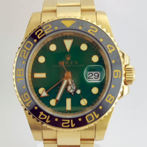 Rolex GMT Master II 18k Yellow and Steel RARE Green Dial MINT - SEA Wave Diamonds