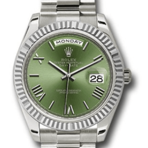 Rolex Green Dial Day-Date 40 White Gold 228239 ogrp - SEA Wave Diamonds