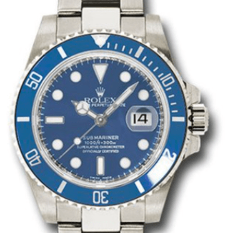 Rolex white gold blue dial ceramic submariner - SEA Wave Diamonds