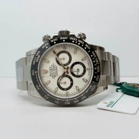 Rolex Daytona Steel white dial ceramic bezel 116500LN w - SEA Wave Diamonds