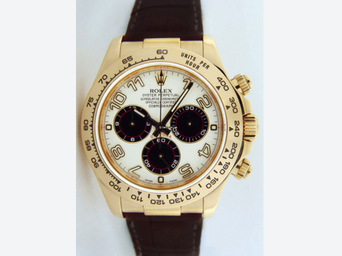 Rolex Cosmograph Daytona, White Dial, 18K Yellow Gold REF: 116518 - SEA Wave Diamonds