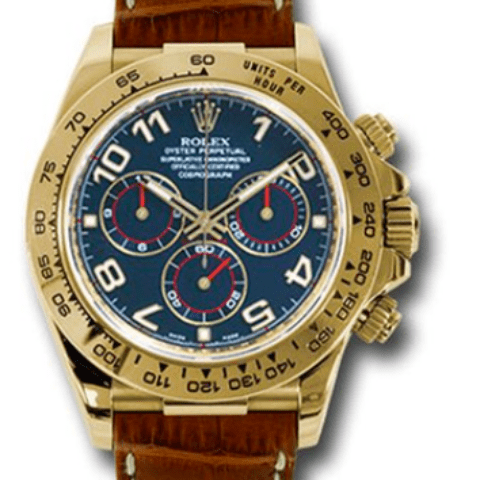Rolex Daytona 116518 blabr Blue Dial 18K yellow gold - SEA Wave Diamonds