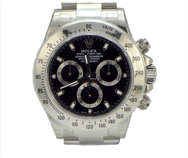 Rolex Stainless Steel Daytona / Black Dial / Full Package - SEA Wave Diamonds