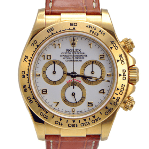 Rolex Daytona Yellow Gold on Leather Strap White Dial - SEA Wave Diamonds