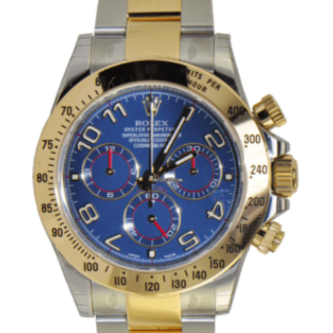Rolex Cosmograph Daytona, Blue Dial-Stainless Steel & Yellow Gold - SEA Wave Diamonds