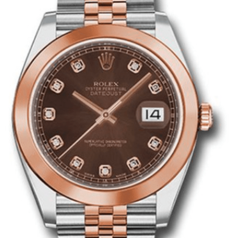Rolex dayjust 41mm diamond dial 18k pink/steel - SEA Wave Diamonds