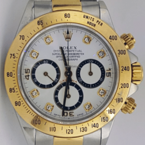 Rolex 16523 Daytona Twotone Original Diamond Dial WhiteDial - SEA Wave Diamonds