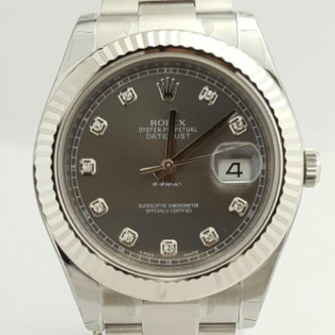 Rolex DateJust II 41mm Rhodium Diamond Dial and White Gold Bezel