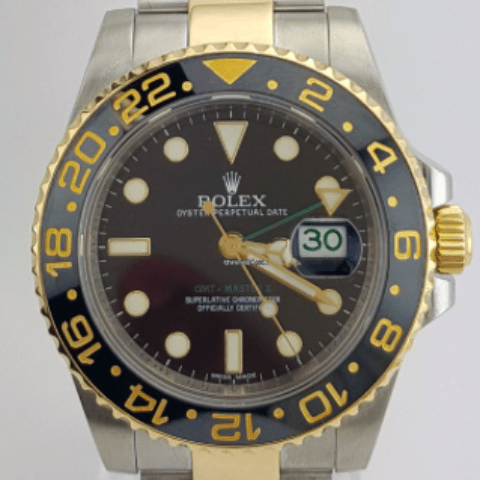 Rolex GMT - Master II 2 Tone Gold and Steel REF:116713LN - SEA Wave Diamonds