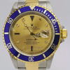 Rolex Submariner/2 Tone /Gold Face/Blue Bezel/16613