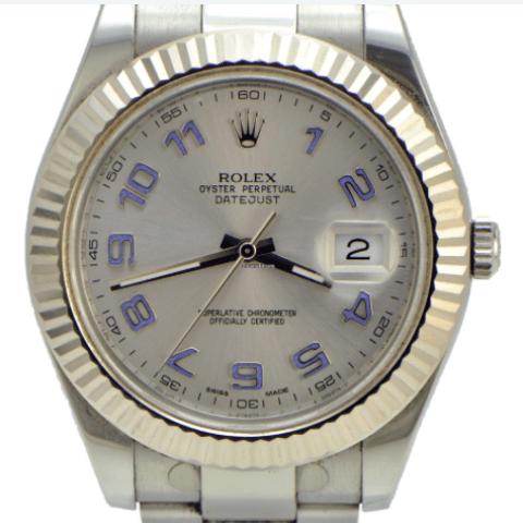 Rolex DateJust ii / Silver Dial / fluted Bezel and Papers - SEA Wave Diamonds