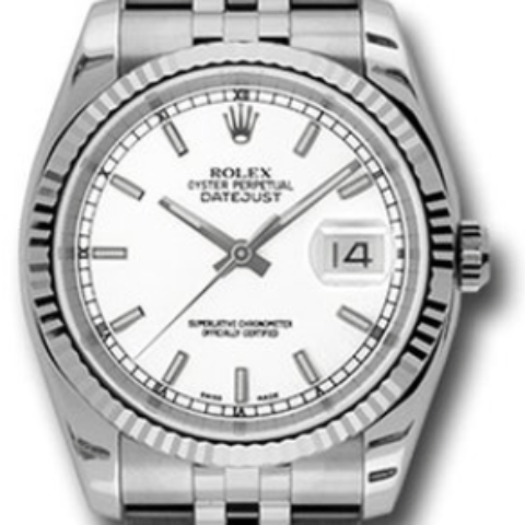 Rolex 116234 wsj Datejust 36mm Steel Fluted Bezel Jubilee - SEA Wave Diamonds