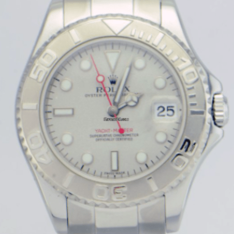 Rolex Oyster Perpetual YachtMaster Platinum Bezel 35mm REF:168622 - SEA Wave Diamonds