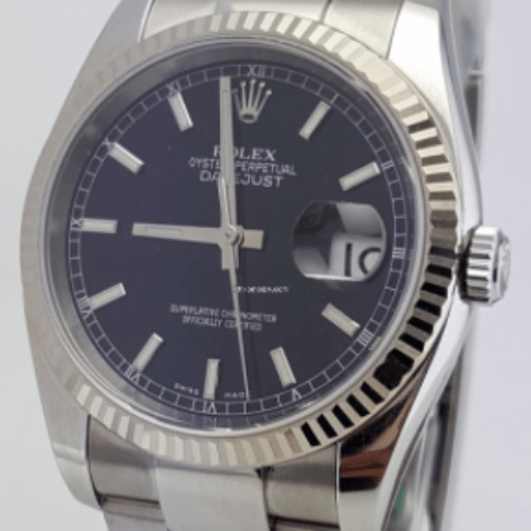 Rolex Datejust 36mm Stainless Steel and White Gold Fluted Bezel - SEA Wave Diamonds