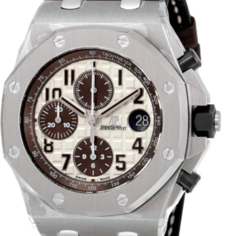 Audemars Piguet Royal Oak Offshore Ivory Dial Brown Alligator Leather26470ST